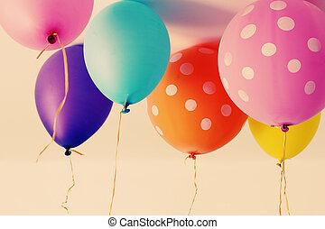 cicatrizarse, de, globos coloridos