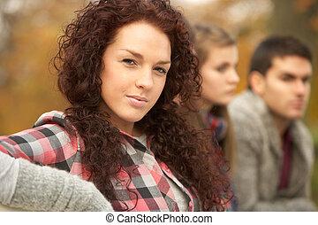 cicatrizarse, de, grupo, de, adolescente, amigos, en, otoño, parque