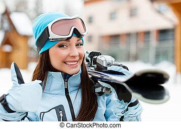cicatrizarse, de, hembra, entregar, esquís, quién, pulgares arriba
