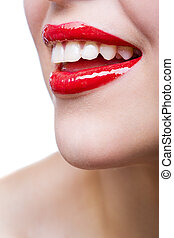 cicatrizarse, de, hembra, labios rojos