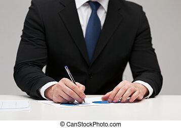 cicatrizarse, de, hombre de negocios, con, papeles