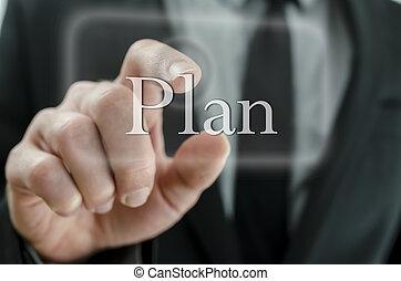 cicatrizarse, de, hombre de negocios, mano, planchado, plan, botón, en, un, pantalla del tacto, interface., concepto, de, planificación, un, exitoso, business.