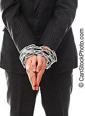 cicatrizarse, de, hombre de negocios, manos, encadenado