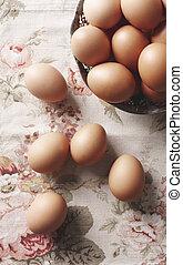 cicatrizarse, de, huevos, en, el, cesta