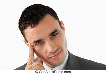 cicatrizarse, de, joven, hombre de negocios, en, pensamientos