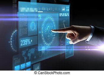 cicatrizarse, de, mano señalar con el dedo, dedo, a, virtual, pantalla