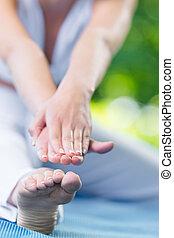 cicatrizarse, de, manos, de, deportista, extensión