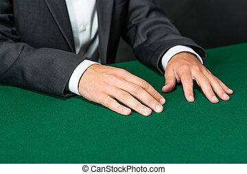 cicatrizarse, de, manos, de, jugador, el sentarse en la tabla
