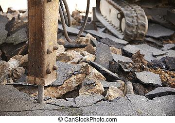 cicatrizarse, de, martillo neumático, se separar, superficie camino