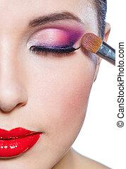 cicatrizarse, de, mitad-cara, de, niña, aplicación de maquillaje