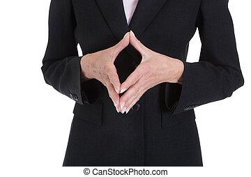 cicatrizarse, de, mujer de negocios, mano, el gesticular