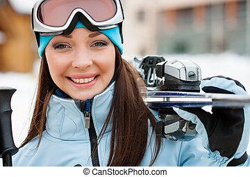 cicatrizarse, de, mujer, entregar, esquís