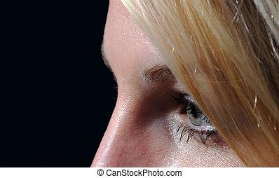 cicatrizarse, de, mujer, ojo