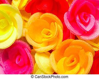 cicatrizarse, de, oblea, rosas, fondo alimento