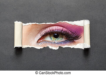cicatrizarse, de, ojo femenino, con, rosa, maquillaje