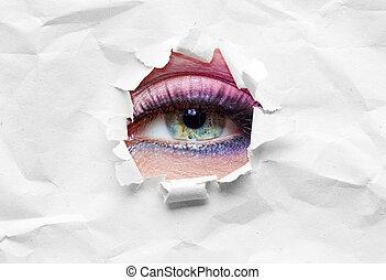 cicatrizarse, de, ojo femenino, en, el, soga
