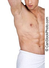 cicatrizarse, de, sexy, ataque, guapo, macho, body., posición, en, toalla blanca, con, torso desnudo, aislado, encima, fondo blanco