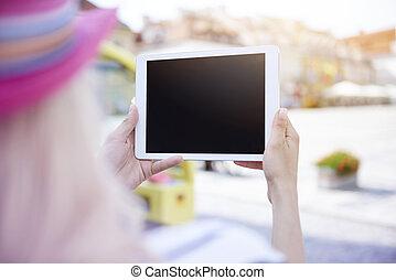 cicatrizarse, de, tableta de digital