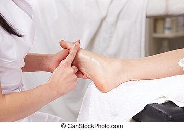 cicatrizarse, de, tailandés, masaje del pie