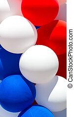 cicatrizarse, de, tricolor, balloons.