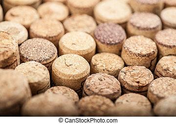 cicatrizarse, de, un, corcho, vino, con, diferente, variación, de, color de vino