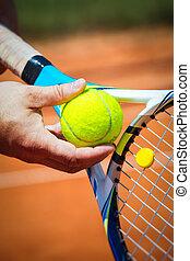 cicatrizarse, de, un, jugador del tenis