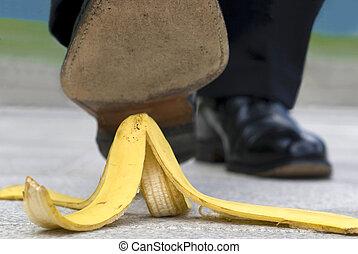 cicatrizarse, hombre de negocios, caminar on, piel del plátano
