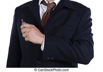 cicatrizarse, hombre de negocios, con, marcador