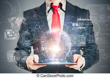 cicatrizarse, imagen, de, hombre de negocios, tenencia, un, tableta de digital
