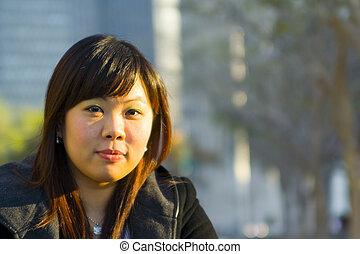 cicatrizarse, joven, niña asiática, 2