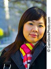 cicatrizarse, joven, niña asiática, 3