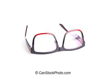 cicatrizarse, ojo negro, anteojos, aislado, blanco