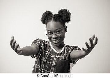 cicatrizarse, retrato, de, alegre, hembra africana, actuación, amabilidad, y, cortesía