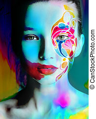 cicatrizarse, retrato, de, mujer, color, cara