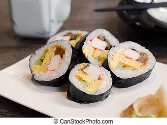cicatrizarse, rollo sushi, blanco, plato