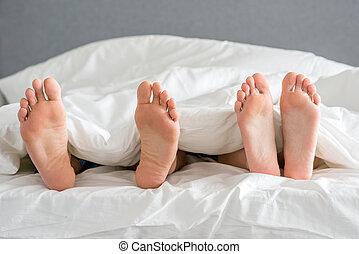 cicatrizarse, socios, suelas, blanco, cama