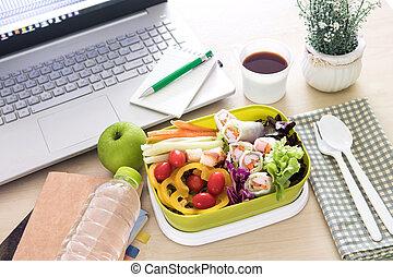 cicatrizarse, verde, fiambrero, en, el, lugar de trabajo, de, trabajando, escritorio, comida, limpio, alimento, hábitos, para, dieta, y, asistencia médica, concepto