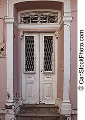 cicatrizarse, vista, de, viejo, azul, puerta de madera, y, pared de piedra, de, histori