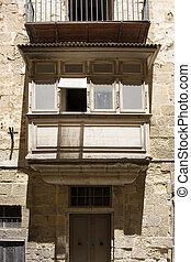 cicatrizarse, vista, de, viejo, edificio histórico, en, valletta, /, malta.