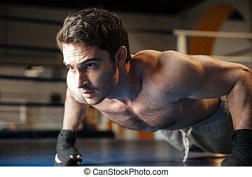 cicatrizarse, vista lateral, de, fresco, boxeador, hacer, empujón, aumentar
