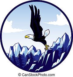 Cici's Eagle (badge) - A illustration of a bald eagle taking...