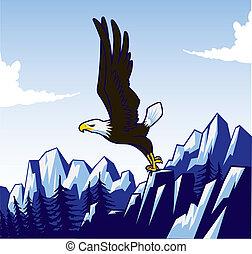 Cici's Eagle (panel) - A illustration of a bald eagle taking...