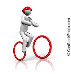 ciclismo, bicicleta montaña, 3d, símbolo