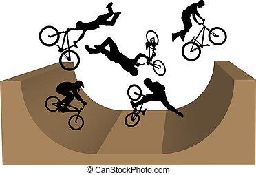 ciclismo, bmx, silueta