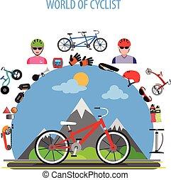 ciclismo, conceito, apartamento