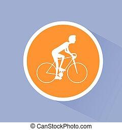 ciclismo, desporto, bicicleta, homem, bicicleta estrada, cavaleiros, apartamento
