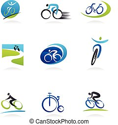 ciclismo, e, bicycles, ícones
