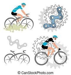 ciclismo, elementos, desenho, ícones