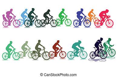 ciclismo, em, a, grupo