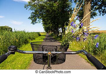 ciclismo, em, verão